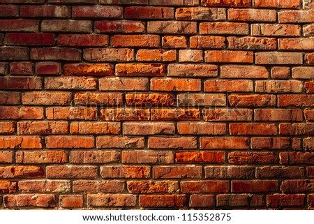 rough wall background of red bricks texture - stock photo