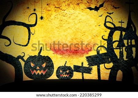 Rough wall cement texture.Halloween pumpkin background - stock photo