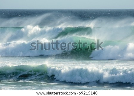 Rough windswept waves off the South African shore - stock photo