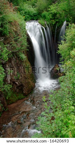 Roughlock waterfall in Spearfish Canyon situated in the Black Hills of South Dakota. - stock photo