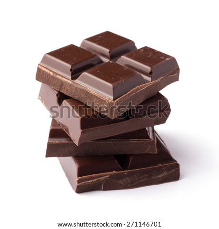 Roughly cut chunks of a chocolate bar - stock photo