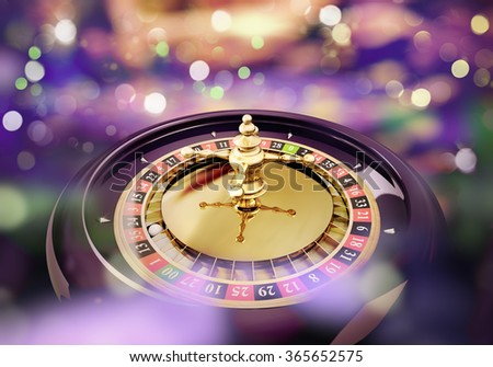 roulette close up with lights in the background - stock photo