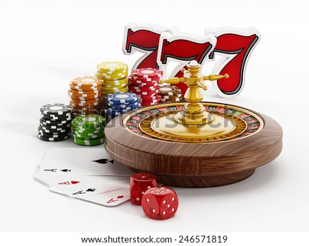 Roulette, dice, game cards and three sevens on white background - stock photo