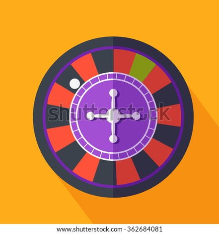Roulette flat design on background. Casino and roulette wheel, gambling luck, fortune and bet, risk and leisure, jackpot chance, gamble round illustration - stock photo