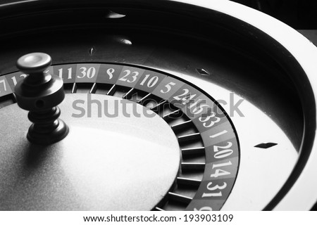 Roulette in casino. black and white. studio shot. - stock photo