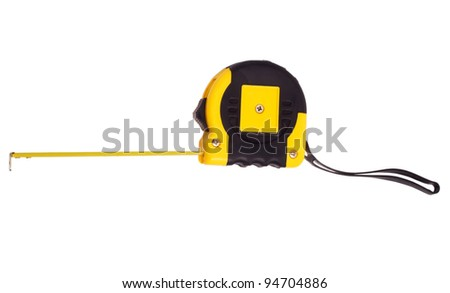 roulette meter instrument measuring  measuring tape isolated - stock photo