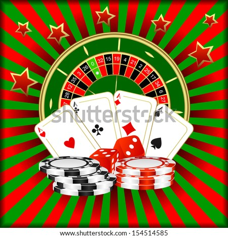 Roulette, playing cards, dice and poker chips on a green red background. EPS version is available as ID 119326384.  - stock photo