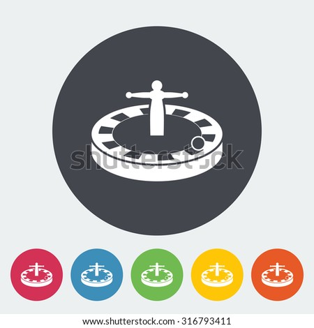 Roulette. Single flat icon on the circle button.  illustration. - stock photo