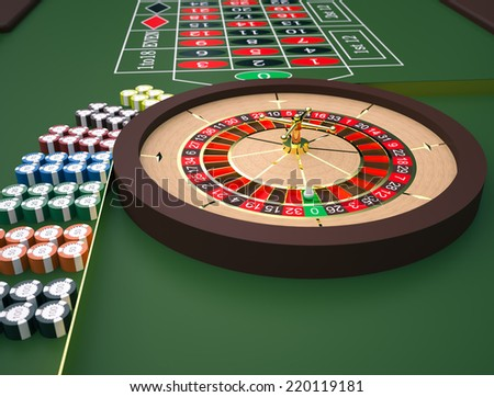 Roulette table in a casino. High resolution - stock photo