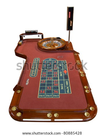 Roulette table isolated on white background - stock photo