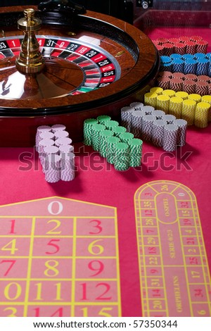 Roulette table ready for playing - stock photo