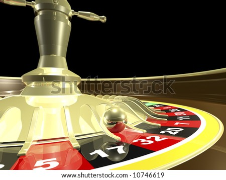 Roulette table side view close up 3D render - stock photo