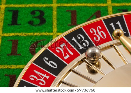 Roulette table with 13 as the winning number - stock photo