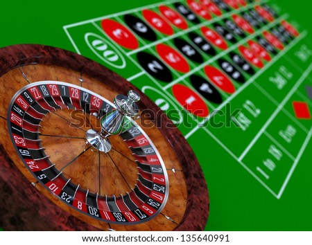 Roulette wheel and table 3d illustration - stock photo