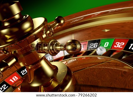 Roulette wheel. Closeup of a roulette wheel with the ball on the zero. - stock photo