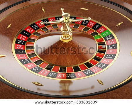 Roulette wheel in casino. Close up