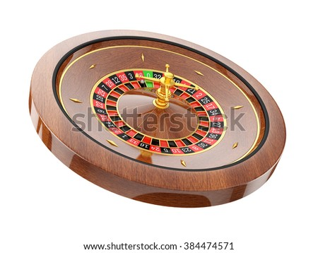 roulette wheel  isolated on white background - stock photo