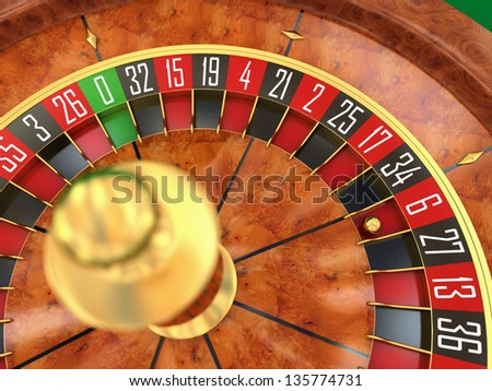 Roulette wheel top view 3d render - stock photo