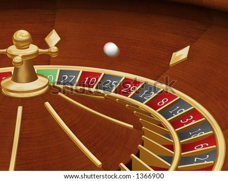 Roulette wheel with ball spinning - 3D render