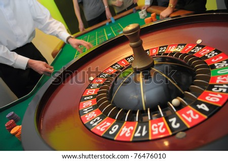 Roulette with the ball on number twenty one