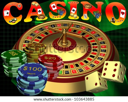 Roulette with the casino chips - stock photo