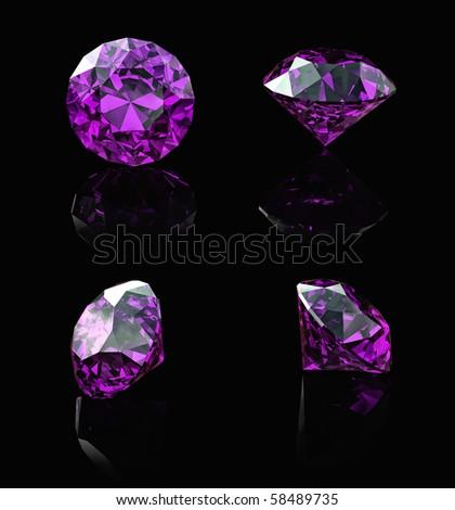 Round amethyst  isolated on black background. Gemstone - stock photo