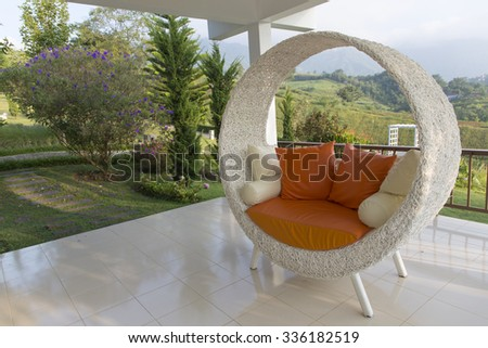 round and comfort chair on beautiful location - stock photo