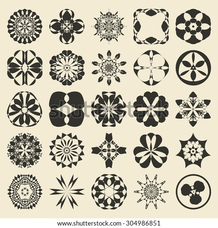 Round and polygonal ornament element set. Twenty five  monochromatic sample object collection.  Circular, floral, oriental, geometrical, tribal and ethnic  swatch. Raster copy of  submitted image. - stock photo