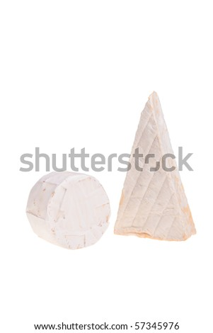 Round and triangle camembert cheese isolated over white background.