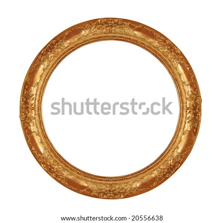 round antique frame with clipping path - stock photo