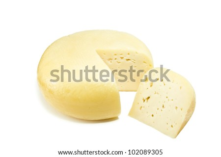 round appetizing cheese on white