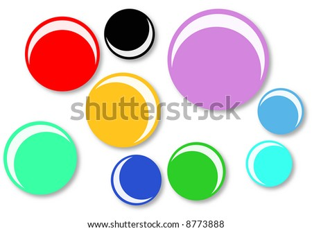 round badges assorted colors and sizes