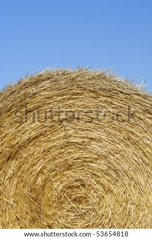 round bale of straw with blue and clear sky - stock photo