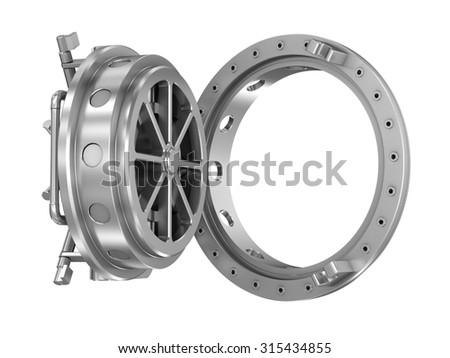 Round bank door isolated on white - stock photo