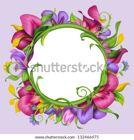 round banner with abstract exotic tropical flower frame