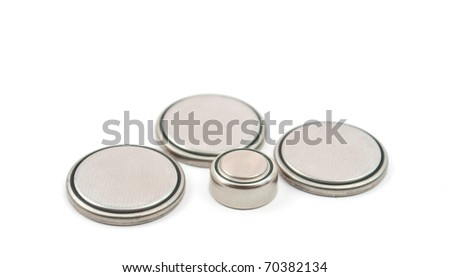 round battery on a white background - stock photo