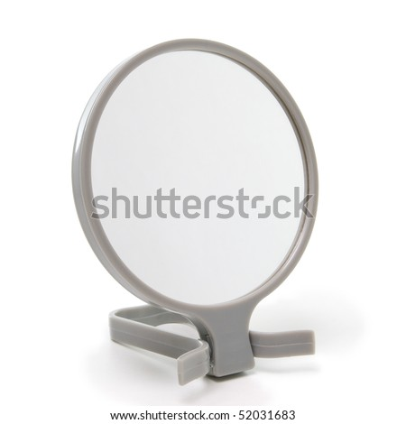 round beauty mirror isolated on white background - stock photo