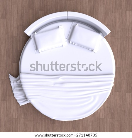 Round bed with pillows and  blanket on the floor in the room. Top view. 3d illustration. - stock photo