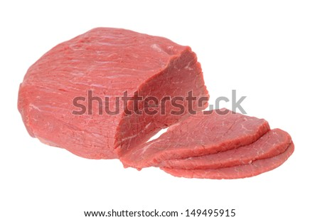 round beef eye meat isolated on white background  - stock photo