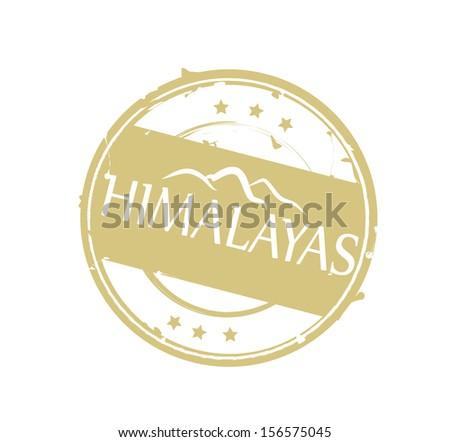 Round beige retro stylized rubber stamp Himalayas - stock photo
