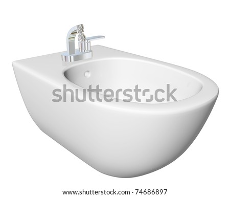 Round bidet design for bathrooms. Type of sink intended for washing the genitalia, inner buttocks, and anus. 3D illustration, isolated against a white background.