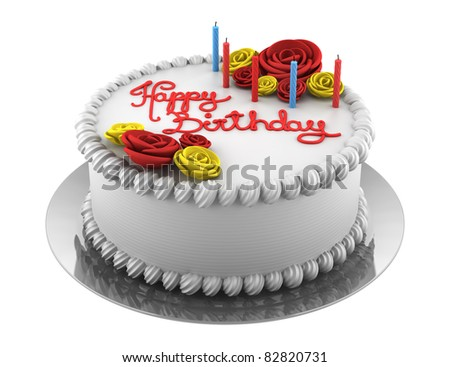 round birthday cake with candles isolated on white background - stock photo