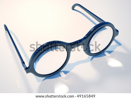 Round black frame glasses - 3d render illustration