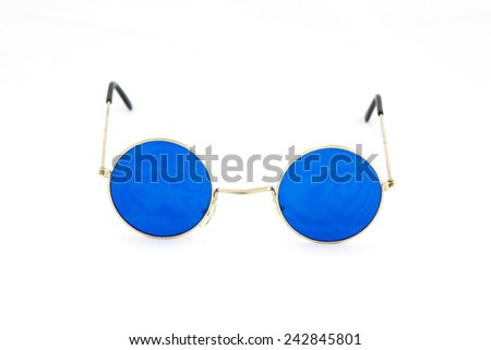 Round blue glasses spectacles - stock photo