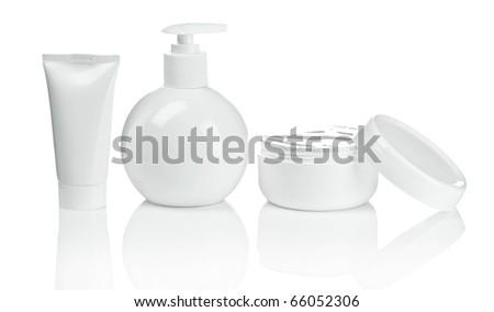 round bottle tube and cream - stock photo