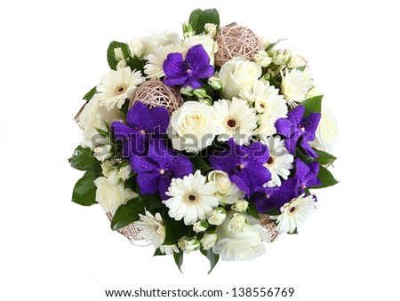 Round bouquet of three garden flowers: cream-colored roses, white gerbera daisies and violet orchids. View from above. The isolated image on a white background. - stock photo