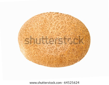 Round bread on white background