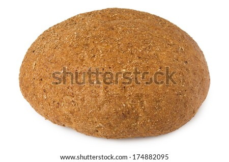 Round bread with bran isolated on white background
