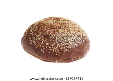 Round bread with sesame seeds isolated on white background