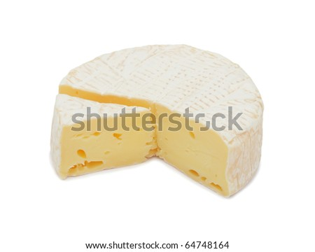 Round Brie cheese, with a section cut out, isolated on a white background